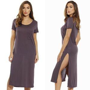 Dresses & Skirts - Side Slit Short Sleeve Jersey Midi Dress Grey